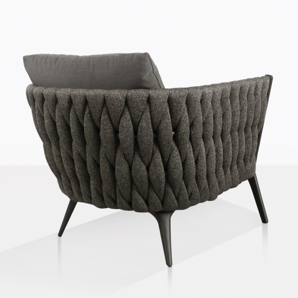 Bianca Modern Rope Outdoor Relaxing Chair Back View in Coal