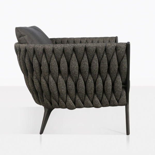 Bianca Modern Rope Outdoor Relaxing Chair Side View in Coal
