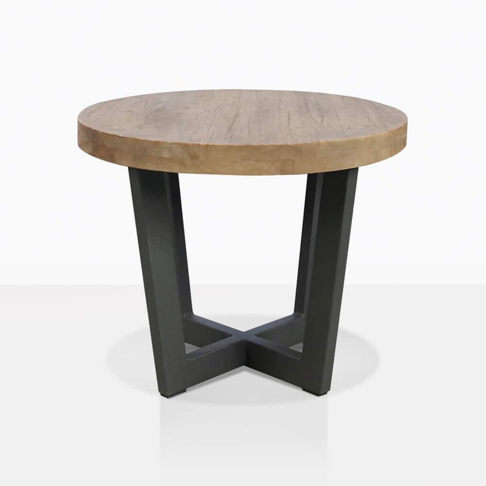 Jimmy Teak Outdoor Side Table - Low Honey Top | Teak Warehouse