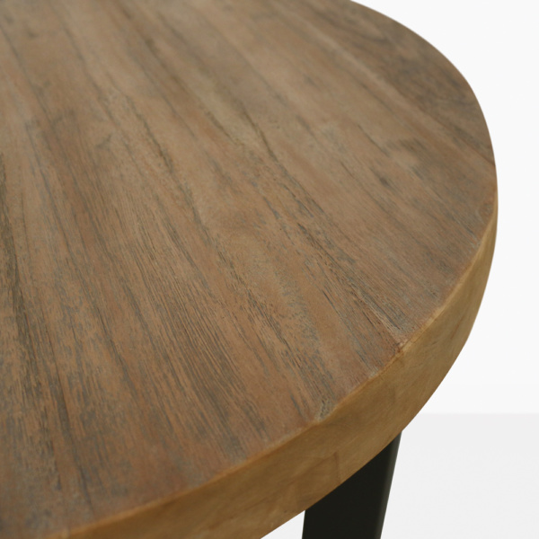 Jimmy Teak And Aluminum Outdoor Accent Tabletop Closeup