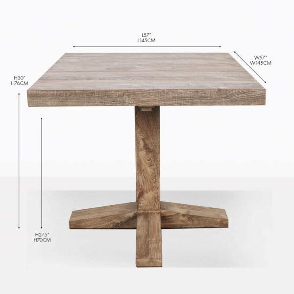 square reclaimed teak outdoor bistro table