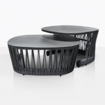 Portofino Rope And Aluminum Coffe Table Set With High Table And Low Table