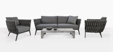 Bianca Sofa And Club Chairs With Concrete Coffee Table