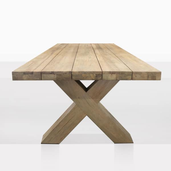Boxx Teak Rectangle Outdoor Dining Table Side