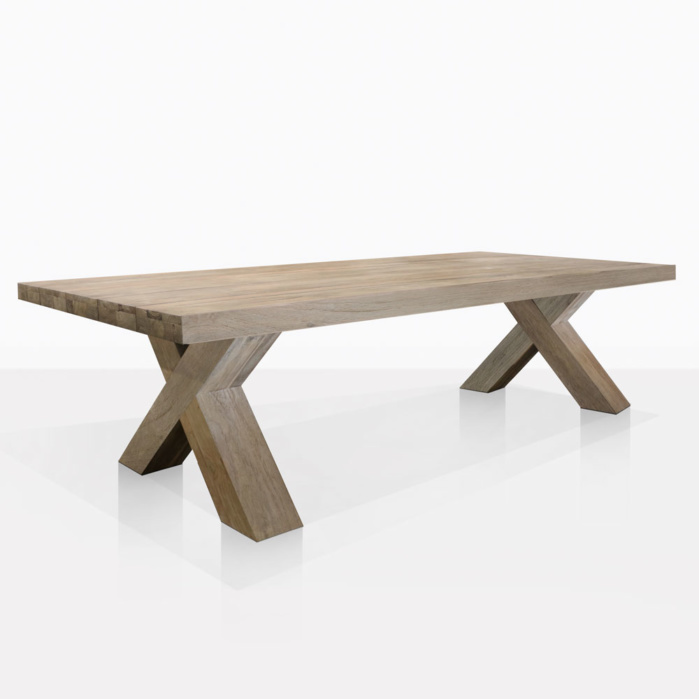 Boxx Teak Rectangle Outdoor Dining Table Angle