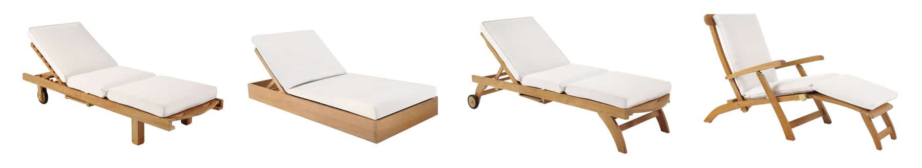Teak Outdoor Sun Loungers With White Cushions