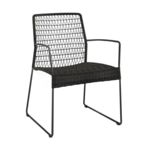 Edge outdoor wicker black dining arm chair.
