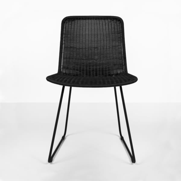 olive black dining chair in wicker