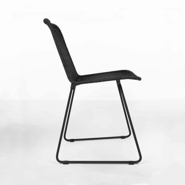 side view - Olive wicker dining side chair in black