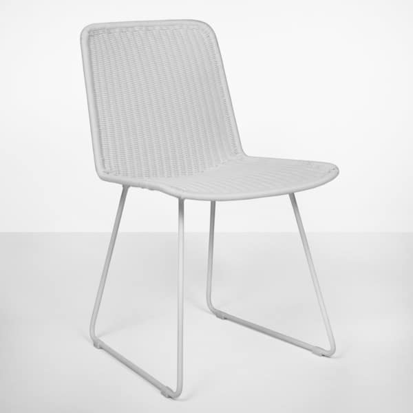 live Wicker Dining Side Chair (white)