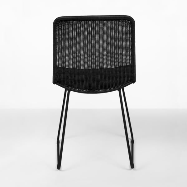 Olive black wicker dining chair - rear