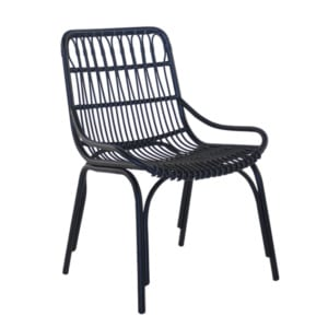 Sydney Outdoor Wicker Dining Chair in black.