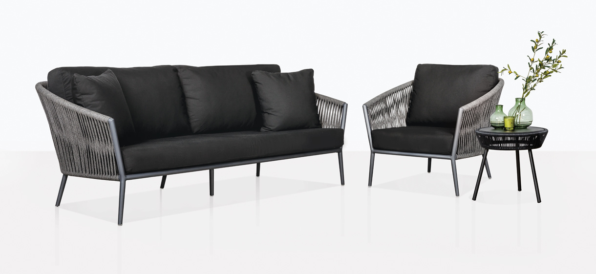 Washington Sofa and Club Chair in Espresso Outdoor Rope