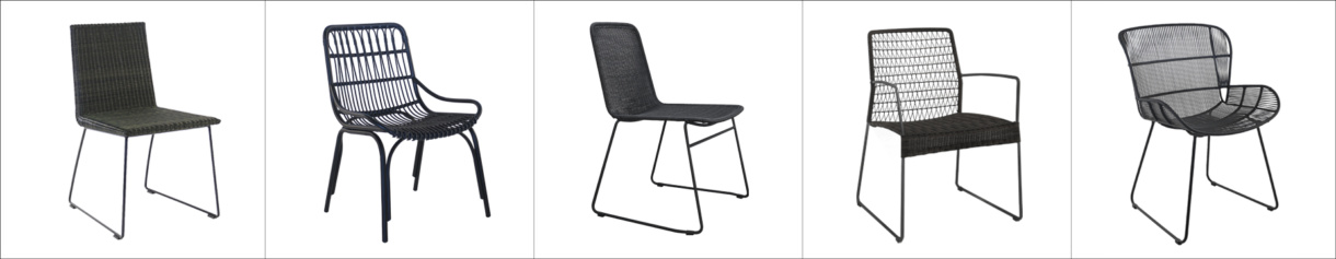 wicker dining chairs black