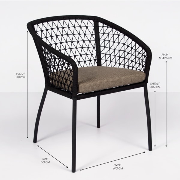 rope and aluminum dining armchair