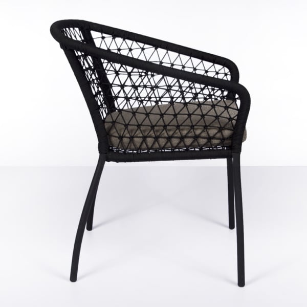 side view of Lola outdoor rope dining chair