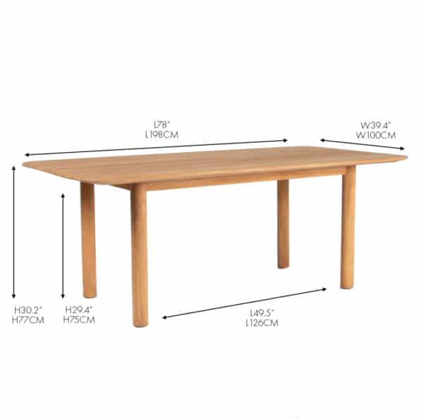 Tradition teak outdoor dining table