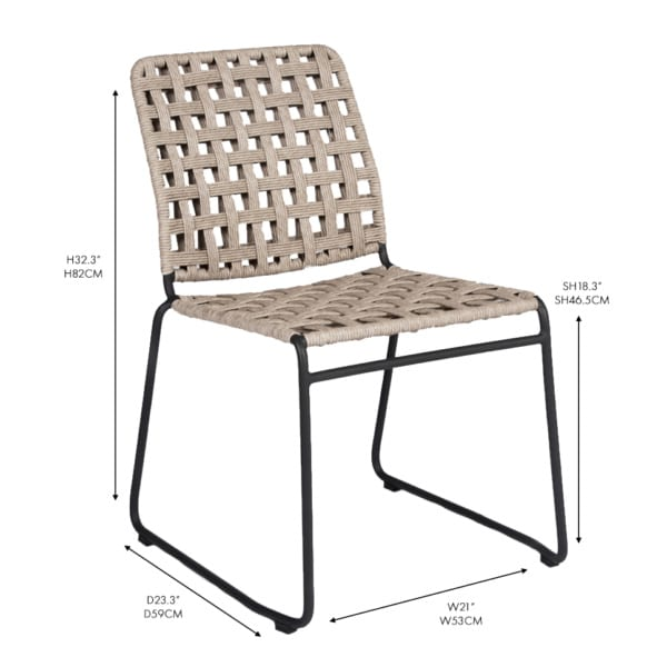 Vita aluminum and rope dining chair