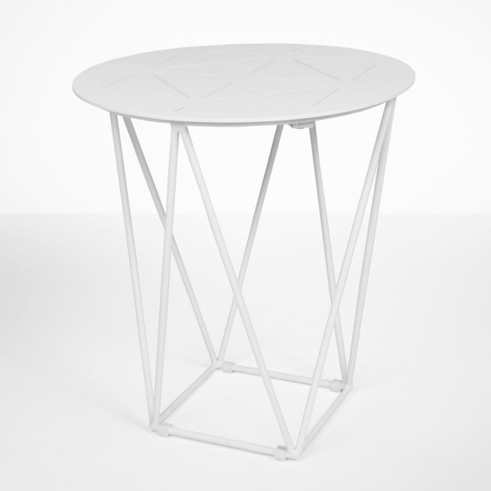 zig zag outdoor side table in white