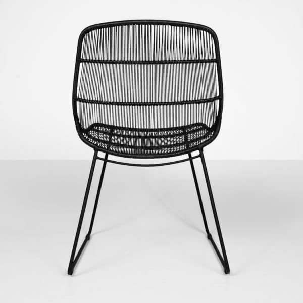 front of oliver black wicker outdoor dining chair