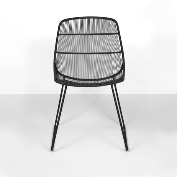 front - oliver wicker dining chair in black