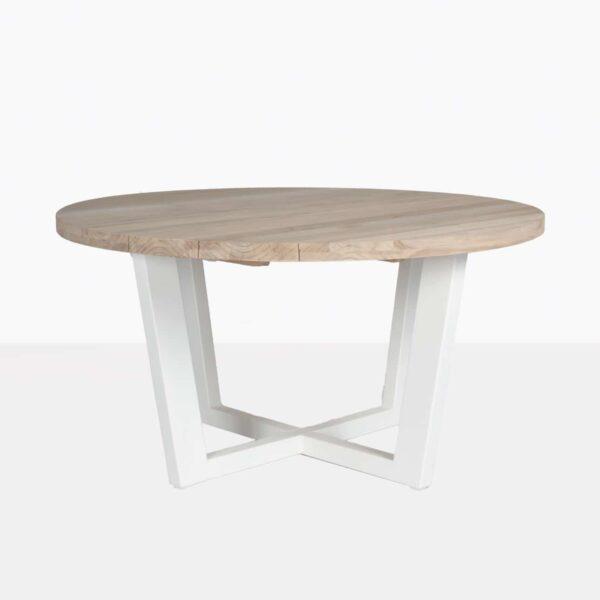 Jimmy Outdoor Round Reclaimed Teak Dining Table White Teak Warehouse