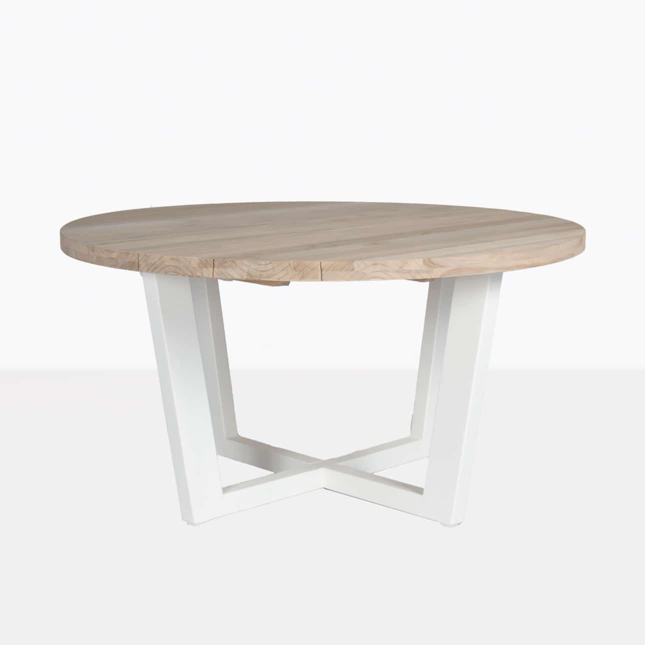 Jimmy Outdoor Round Reclaimed Teak Dining Table White Teak Warehouse