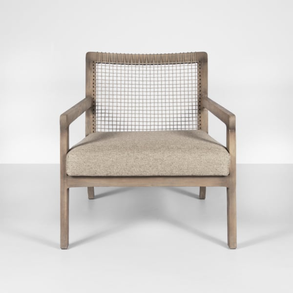 gazzoni teak and rope club chair - front