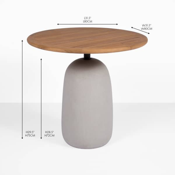 Jake concrete and teak bistro table