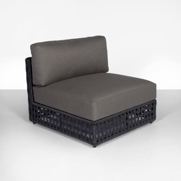 Logan Outdoor Wicker Sectional Center (Black)