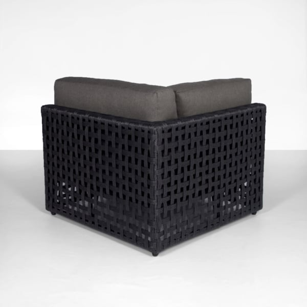 Logan Outdoor Wicker Sectional Corner (Black)