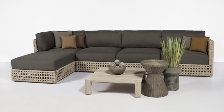 logan outdoor sectional with chaise lounge - natural tones