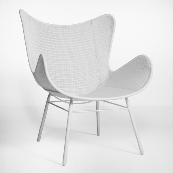 nairobi pure wing outdoor wicker relaxing chair in white