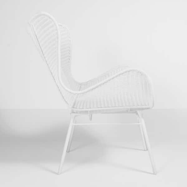 nairobi pure wing outdoor wicker relaxing chair in white side view