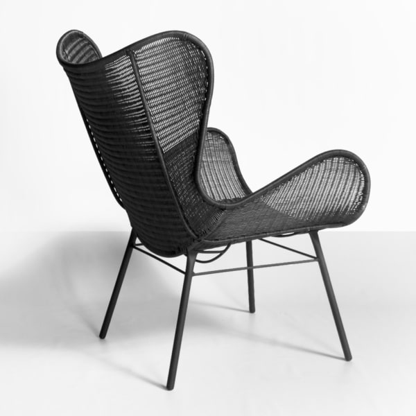 nairobi pure wing outdoor wicker relaxing chair in black back view