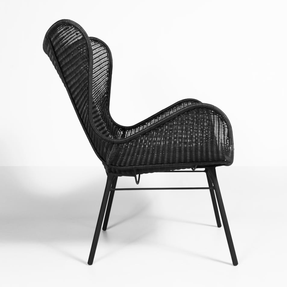 Nairobi Pure Wicker Wing Chair in Black | Outdoor Seating ...