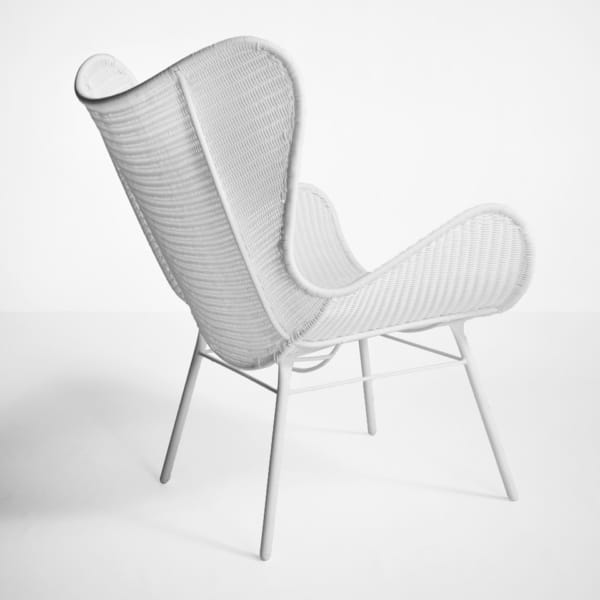 nairobi pure wing outdoor wicker relaxing chair in white back view