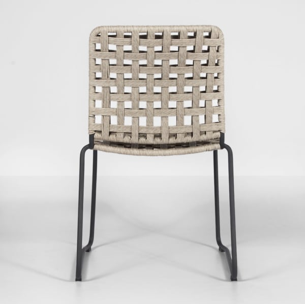 vita outdoor wicker side chair with natural weave back view