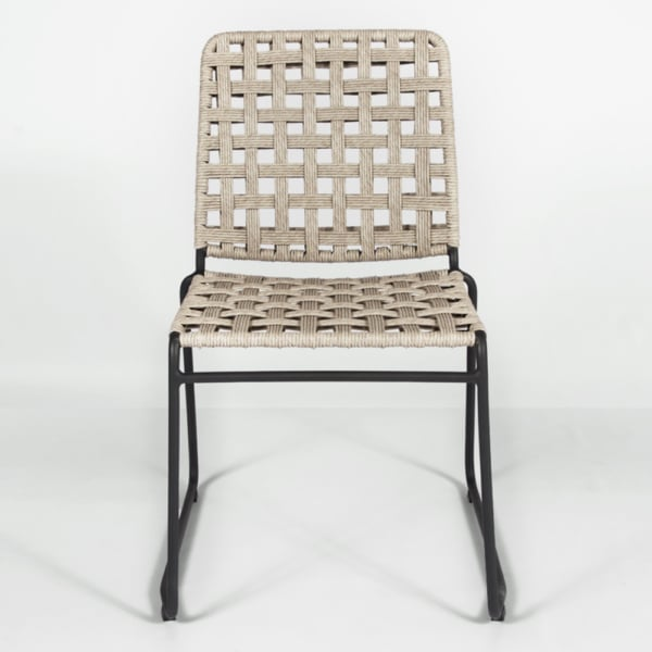 vita outdoor wicker dining side chair natural weave front view