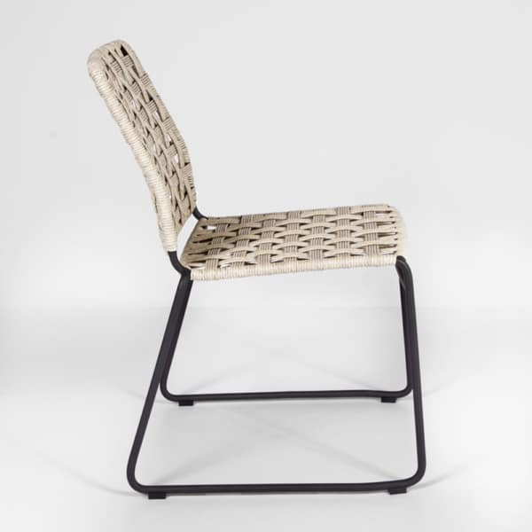 vita outdoor wicker side chair with natural weave side view