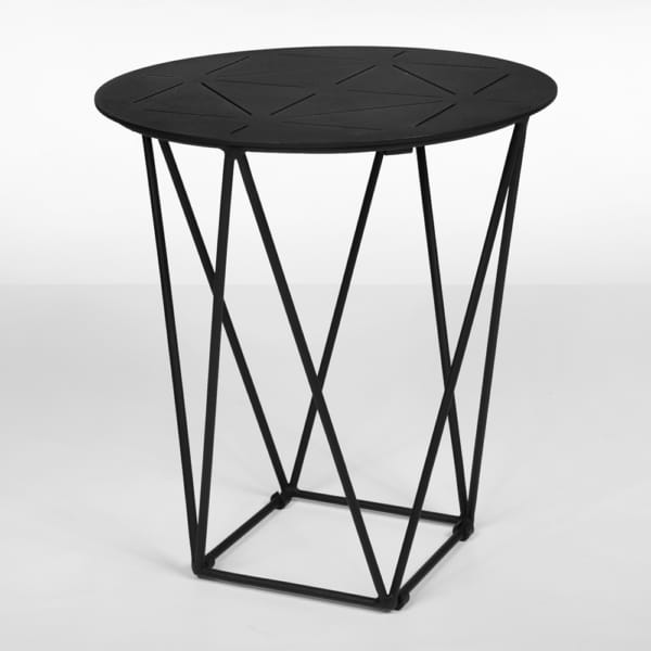 zig-zag outdoor aluminum accent table in black
