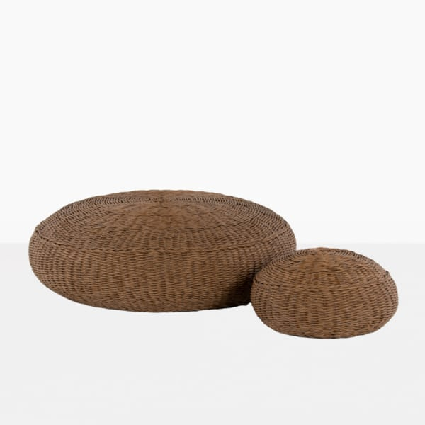 donut pair of wicker ottomans