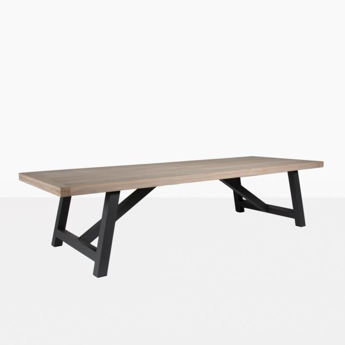 black and teak trestle tables