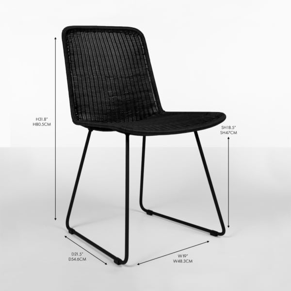 Oliver wicker dining side chair black