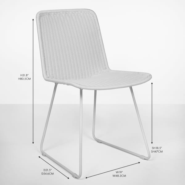 Oliver wicker dining side chair white