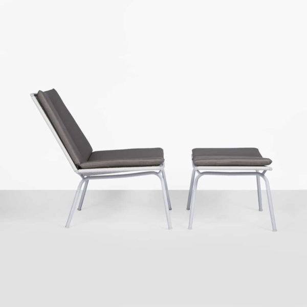 modern outdoor chair and foot stool