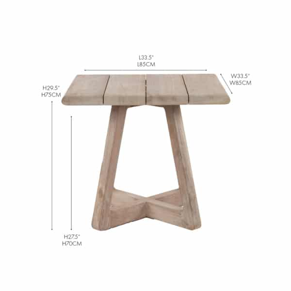 angus bistro reclaimed teak dining table