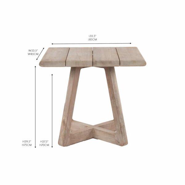 Angus reclaimed teak square bistro table