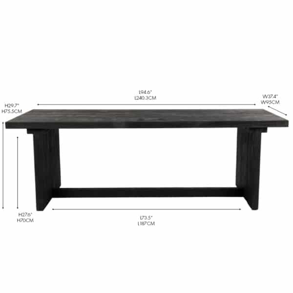 Denis Outdoor Reclaimed Teak Outdoor Dining Table Black