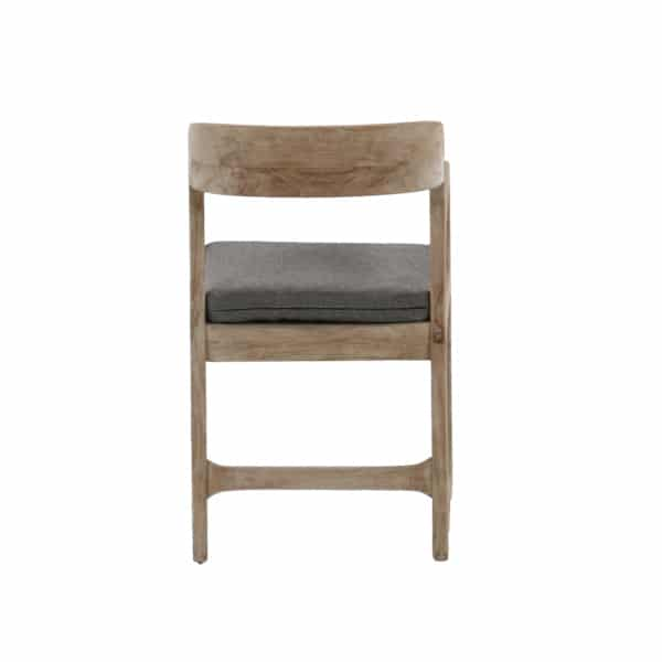wooden chair with gray cuchion
